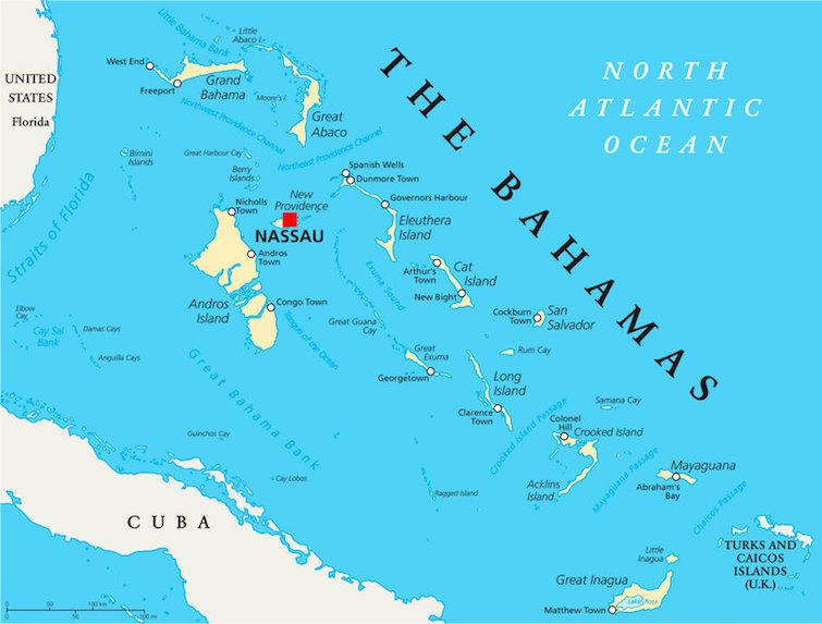 The Bahamas Political Map with capital Nassau, important cities and places. Photo Credit: © Peter Hermes Furian via 123RF.com.